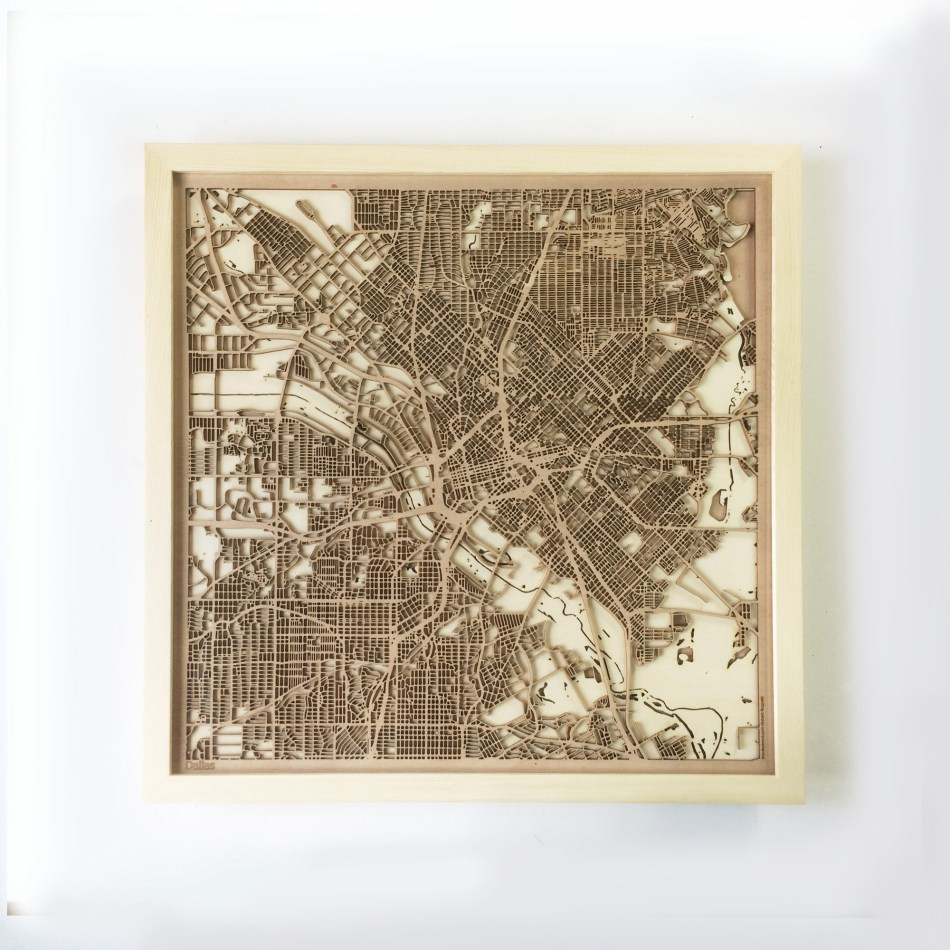 Dallas CityWood Minimal Wooden map wood laser cut maps https://thecitywood.com/ CityWood is a wooden map artwork. City streets, water CityWood - Laser Cut Wooden Maps - Award Wining Design by architect and designer Hubert Roguski