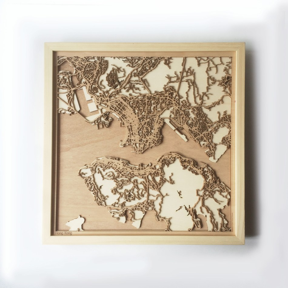 Hong Kong CityWood Minimal Wooden map wood laser cut maps https://thecitywood.com/ CityWood is a wooden map artwork. City streets, water CityWood - Laser Cut Wooden Maps - Award Wining Design by architect and designer Hubert Roguski