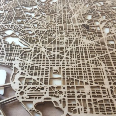 CityWood Minimal Wooden map wood laser cut maps