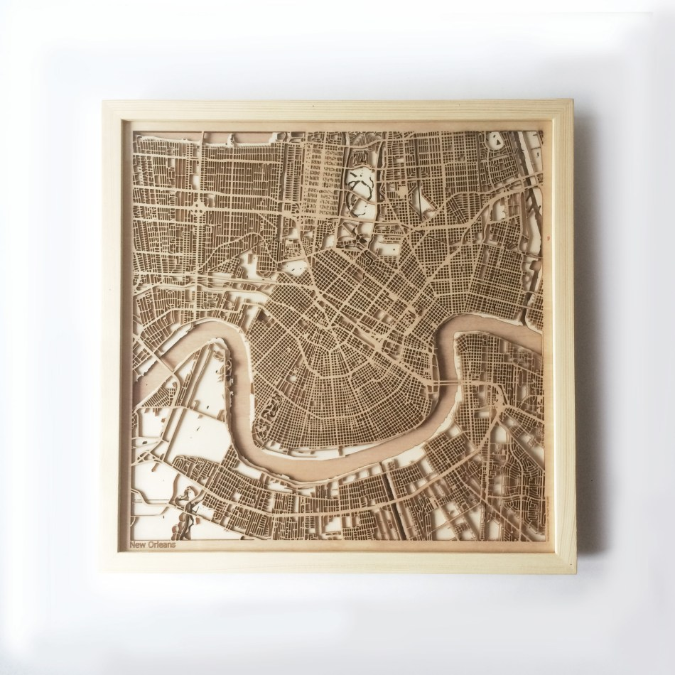 New Orleans CityWood Minimal Wooden map wood laser cut maps https://thecitywood.com/ CityWood is a wooden map artwork. City streets, water CityWood - Laser Cut Wooden Maps - Award Wining Design by architect and designer Hubert Roguski