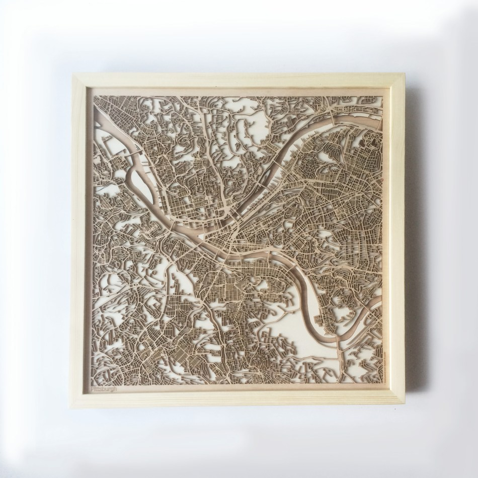 Pittsburgh CityWood Minimal Wooden map wood laser cut maps https://thecitywood.com/ CityWood is a wooden map artwork. City streets, water CityWood - Laser Cut Wooden Maps - Award Wining Design by architect and designer Hubert Roguski