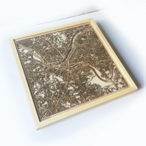 Pittsburgh CityWood Minimal Wooden map wood laser cut maps