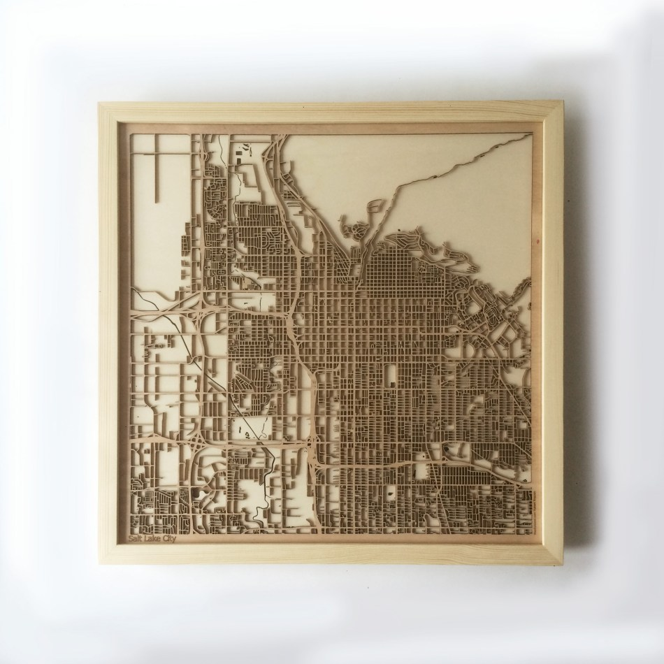 Salt Lake City CityWood Minimal Wooden map wood laser cut maps https://thecitywood.com/ CityWood is a wooden map artwork. City streets, water CityWood - Laser Cut Wooden Maps - Award Wining Design by architect and designer Hubert Roguski