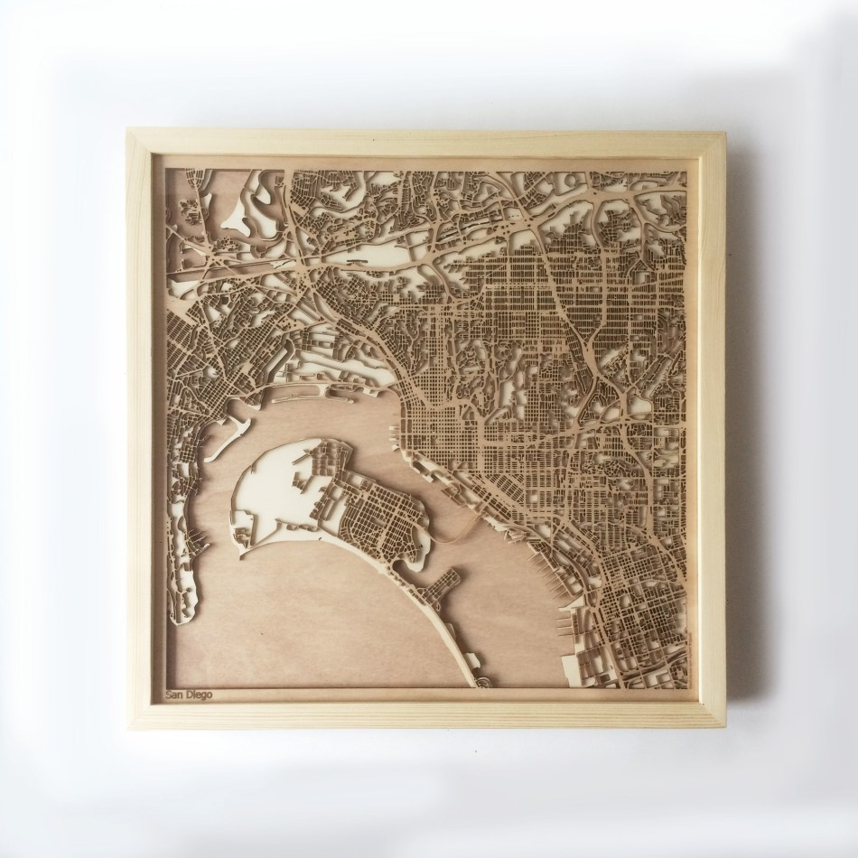 San Diego CityWood Minimal Wooden map wood laser cut maps https://thecitywood.com/ CityWood is a wooden map artwork. City streets, water CityWood - Laser Cut Wooden Maps - Award Wining Design by architect and designer Hubert Roguski