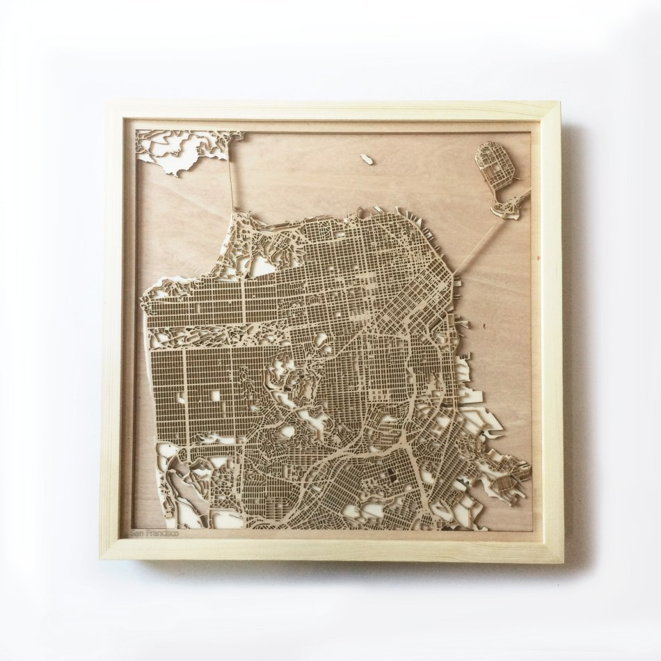 San Francisco CityWood Minimal Wooden map wood laser cut maps https://thecitywood.com/ CityWood is a wooden map artwork. City streets, water CityWood - Laser Cut Wooden Maps - Award Wining Design by architect and designer Hubert Roguski