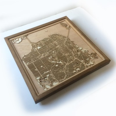 San Francisco CityWood Minimal Wooden map wood laser cut maps
