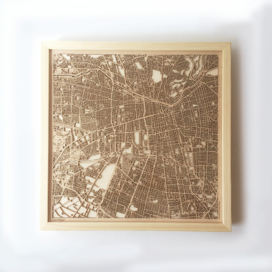 Santiago CityWood Minimal Wooden map wood laser cut maps https://thecitywood.com/ CityWood is a wooden map artwork. City streets, water CityWood - Laser Cut Wooden Maps - Award Wining Design by architect and designer Hubert Roguski