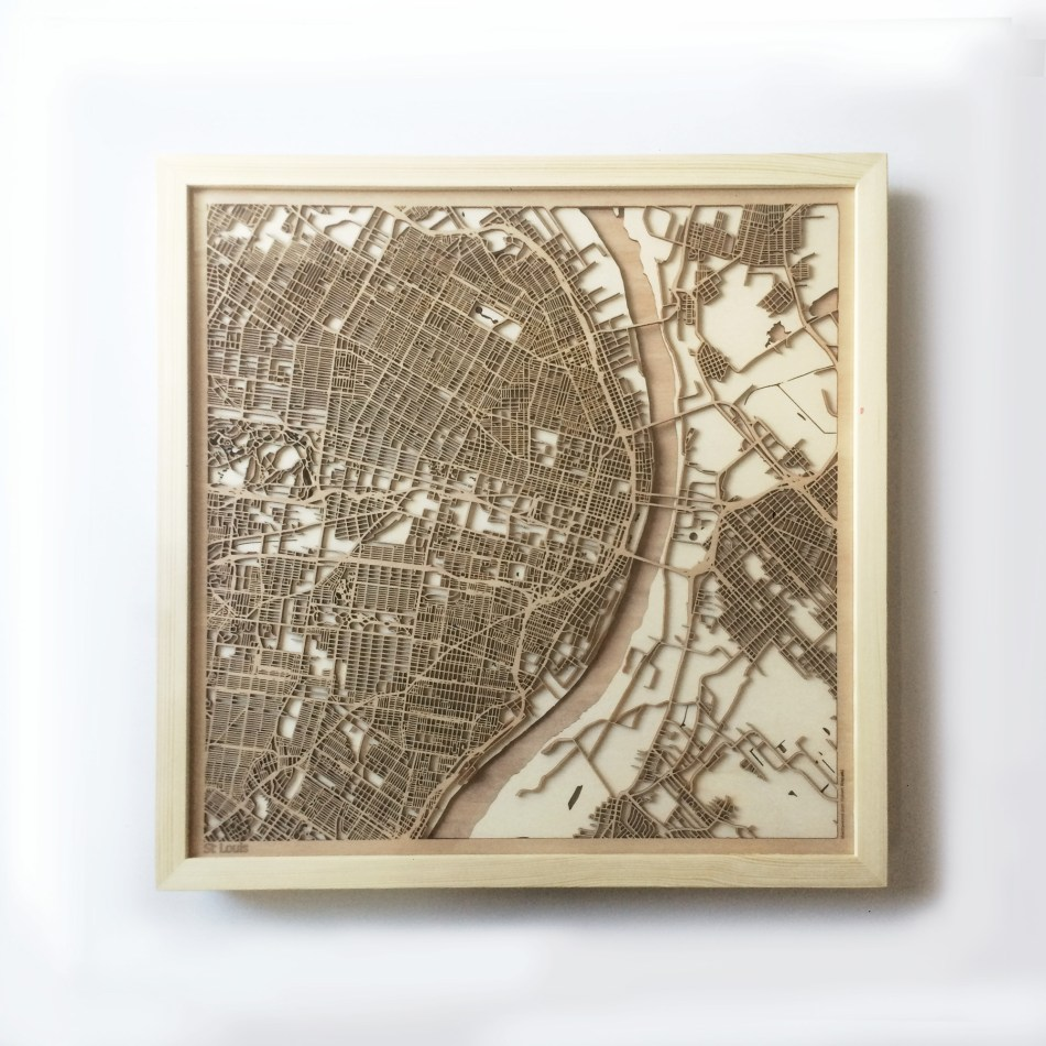 St Louis CityWood Minimal Wooden map wood laser cut maps https://thecitywood.com/ CityWood is a wooden map artwork. City streets, water CityWood - Laser Cut Wooden Maps - Award Wining Design by architect and designer Hubert Roguski