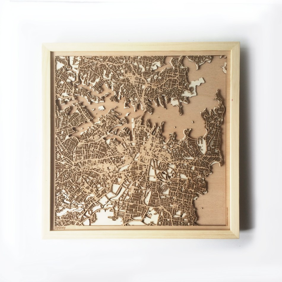 Sydney CityWood Minimal Wooden map wood laser cut maps https://thecitywood.com/ CityWood is a wooden map artwork. City streets, water CityWood - Laser Cut Wooden Maps - Award Wining Design by architect and designer Hubert Roguski