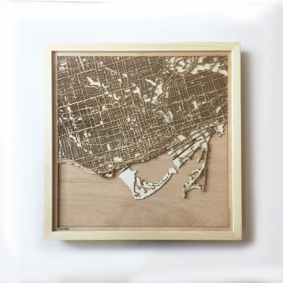 Toronto CityWood Minimal Wooden map wood laser cut maps https://thecitywood.com/ CityWood is a wooden map artwork. City streets, water CityWood - Laser Cut Wooden Maps - Award Wining Design by architect and designer Hubert Roguski