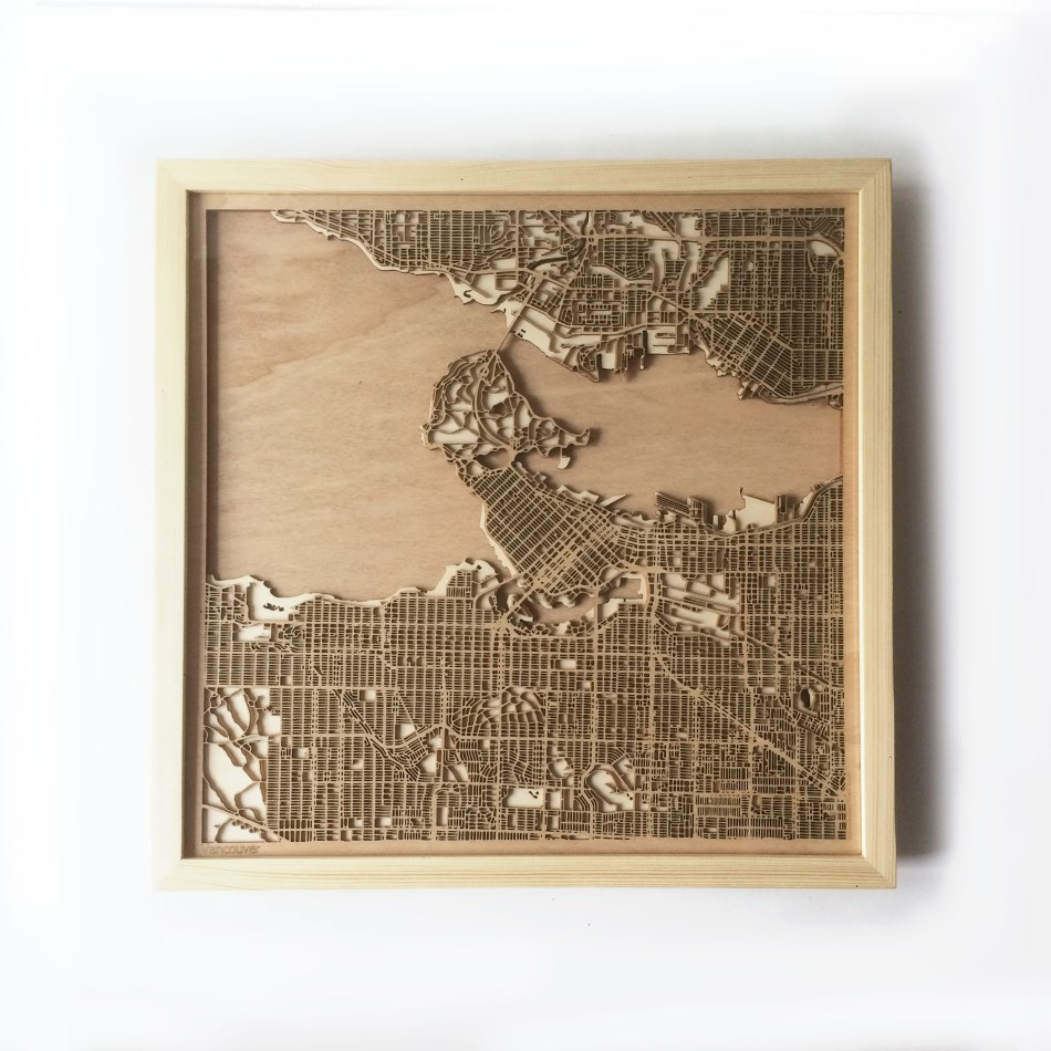 Vancouver CityWood Minimal Wooden map wood laser cut maps https://thecitywood.com/ CityWood is a wooden map artwork. City streets, water CityWood - Laser Cut Wooden Maps - Award Wining Design by architect and designer Hubert Roguski