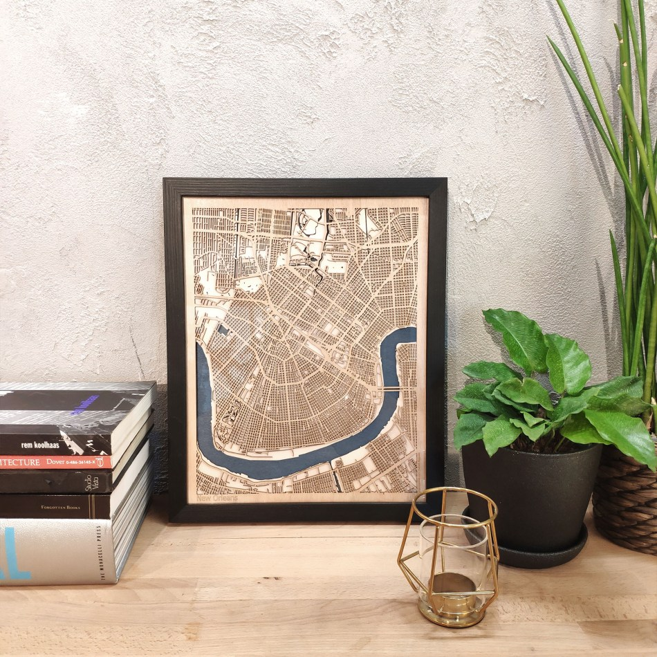 New Orleans CityWood Custom Wood Map laser cut maps https://thecitywood.com/ CityWood is a wooden map artwork. City streets, water - Laser Cut Wooden Maps - Award Wining Design by architect and designer Hubert Roguski