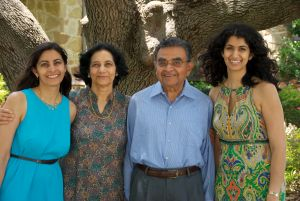 Dr. Sunil Shabde with his wife and daughters