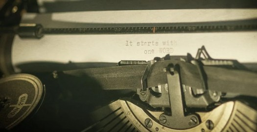 Decorative image of old-fashioned typewriter.