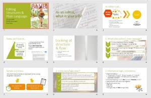 Images of PowerPoint slides from editing webinar