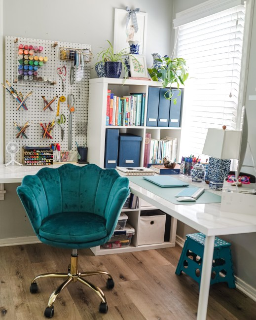 I absolutely love the scalloped velvet desk chair that I paired with this office. It's not blue and match everything, but sometimes you need something just a little different!