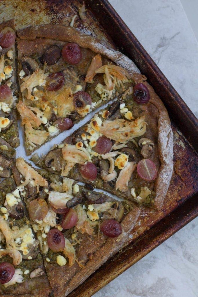 Healthier Chicken Pesto Grape Pizza Recipe