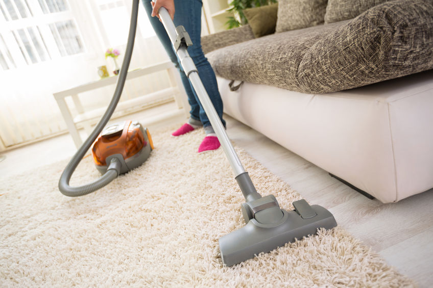Cleaning carpet in living room
