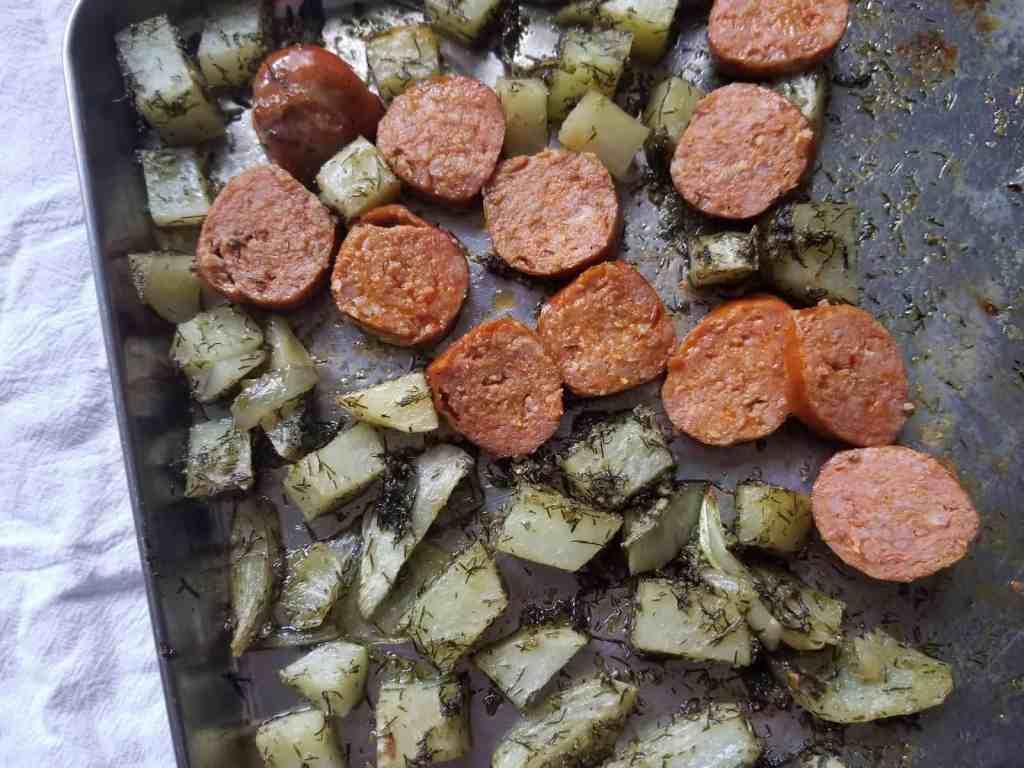 Paleo Pesto Sheet Pan Dinner Image