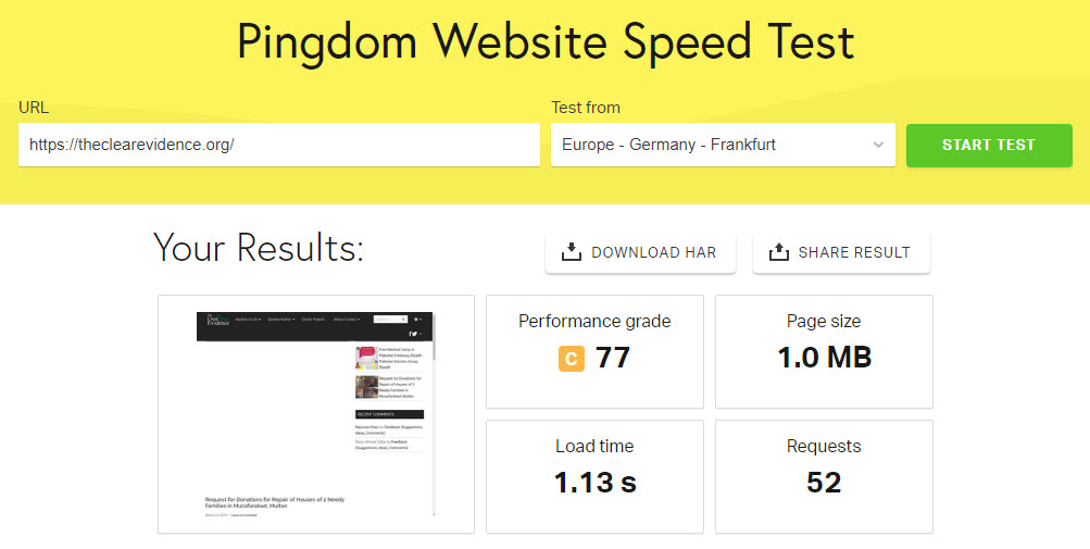 27th March 2019 - Pingdom Website Speed Test for The Clear Evidence