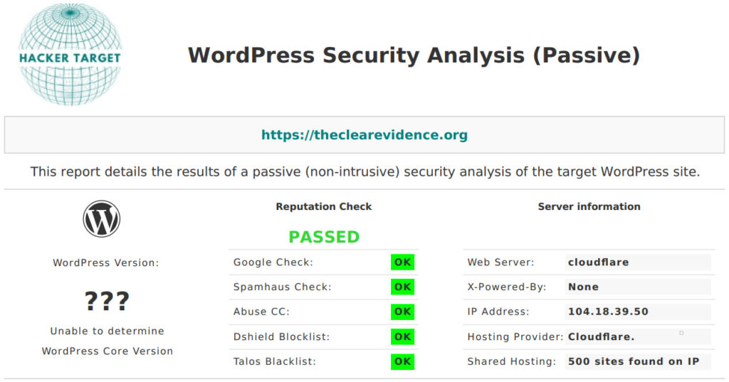 Security Ratings - HACKER TARGET WordPress Security Scan - The Clear Evidence