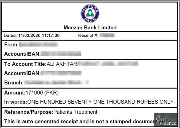 Bank Payment Receipt - Urgent Surgery of a Female Patient in Karachi