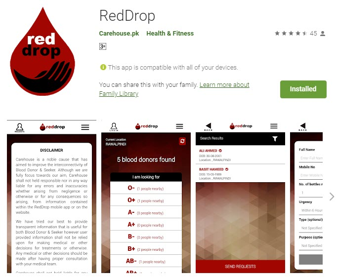 Android App Snapshot - Connecting Voluntary Blood Donors with Recipients - RedDrop.pk
