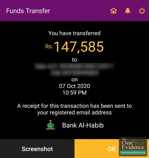 Bank Transfer Receipt - Treatment of a Cancer Patient from Mailsi