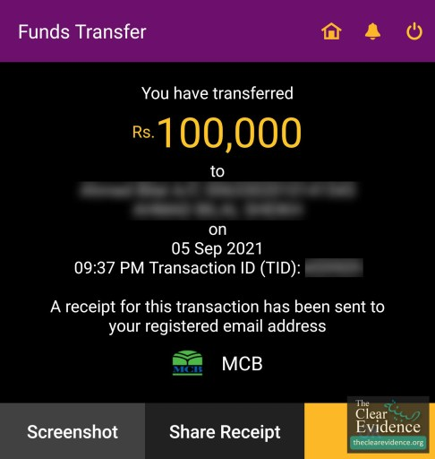 Bank Transfer Receipt - Livelihood of the Father of Two Special Children