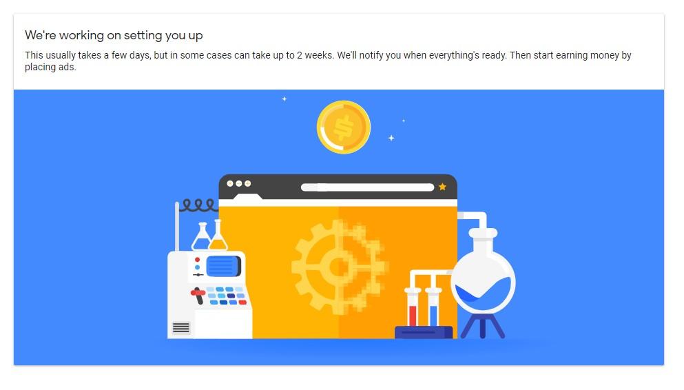 Google AdSense setting up message