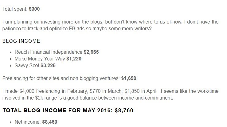Make Money Your Way made 8,760 in net income from their blog in 2016.