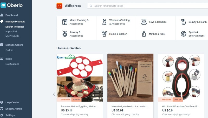 Oberlo search-products tab