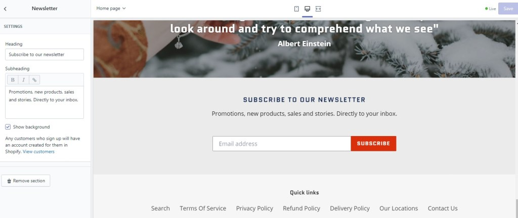 Shopify Embed form