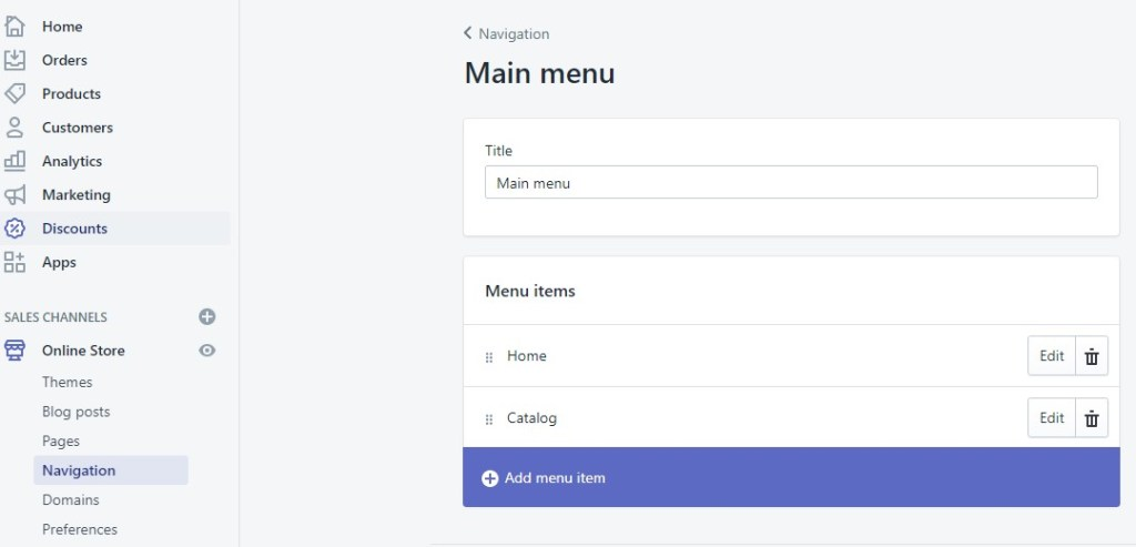 Shopify navigation settings