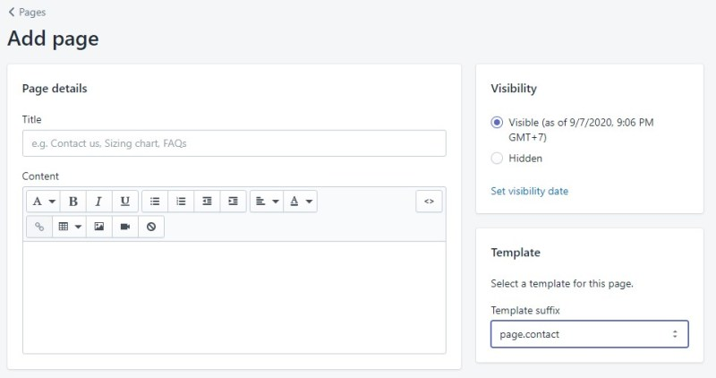 Shopify page template suffix