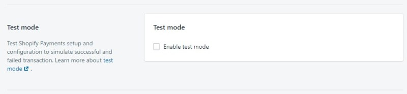 Shopify payments test mode