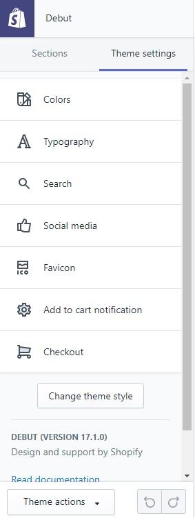 Shopify theme settings tab