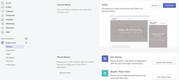 Shopify themes tab