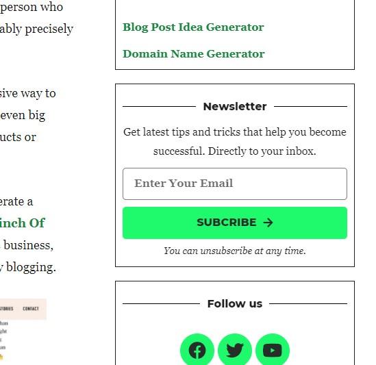 blog sidebar signup form
