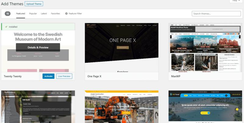 Wordpress add-themes tab