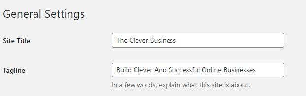 Wordpress site title and tagline
