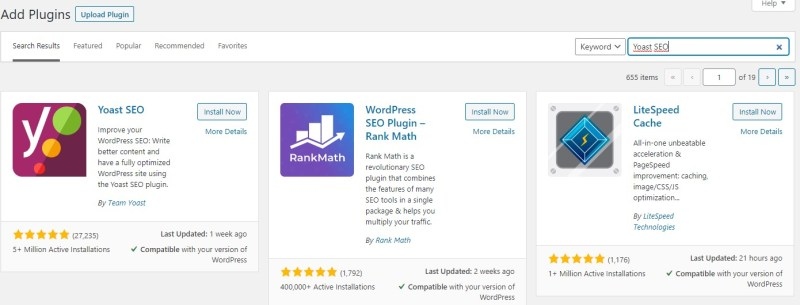 Yoast SEO WordPress search result