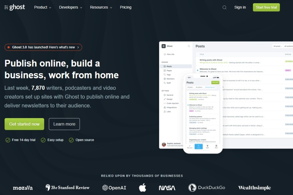 Ghost blogging platform homepage