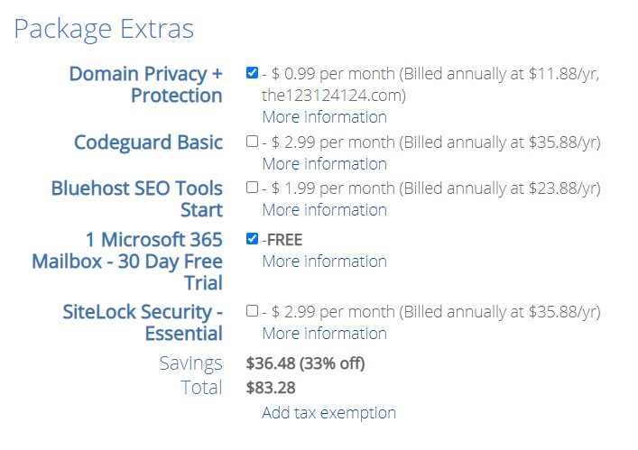 Bluehost package extras