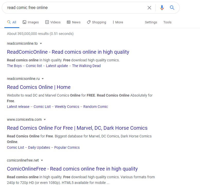 """Exact match domain names for """"read comic online free"""" in Google search results."""