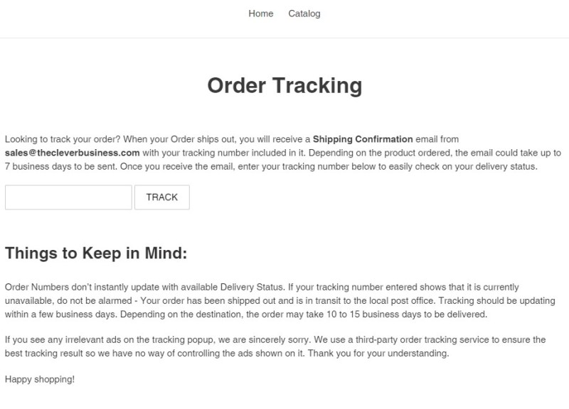 Free Shopify order tracking page