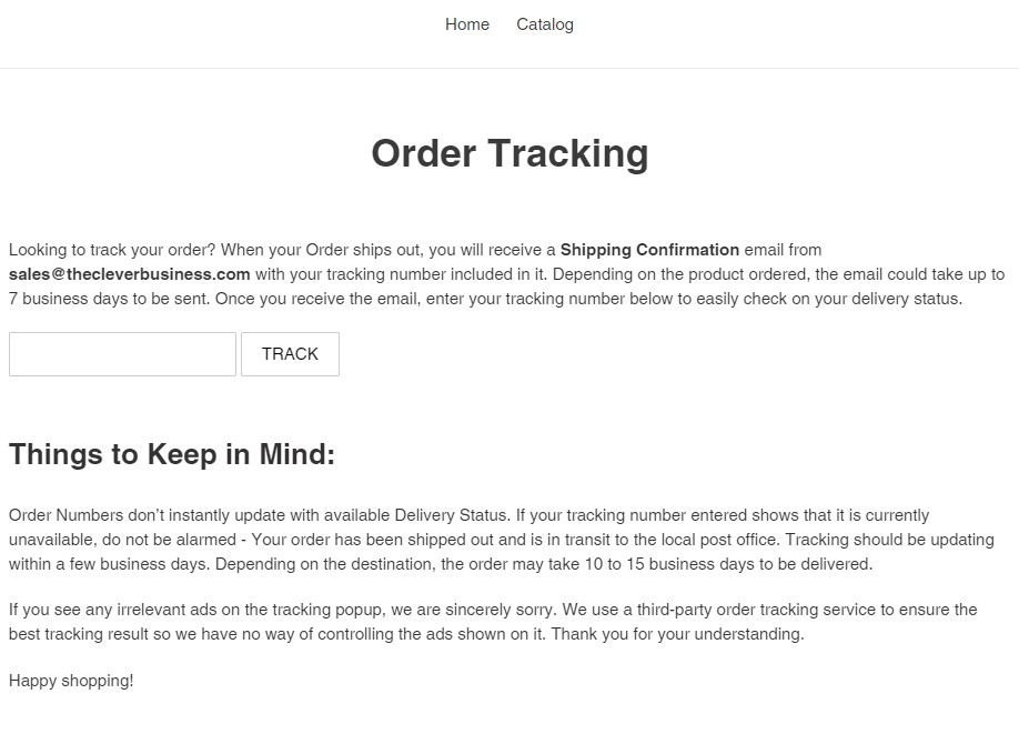 Free Shopify tracking page
