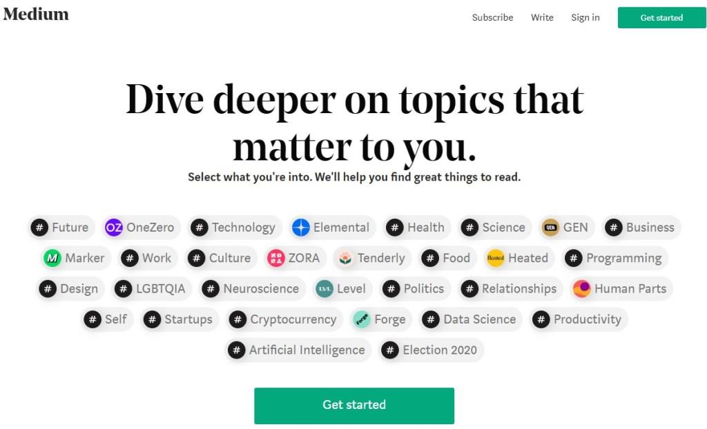 Medium blogging platform homepage