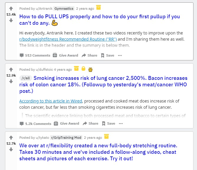 Reddit posts