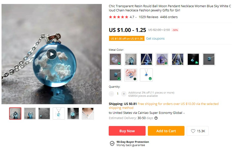 Resin moon necklace on AliExpress